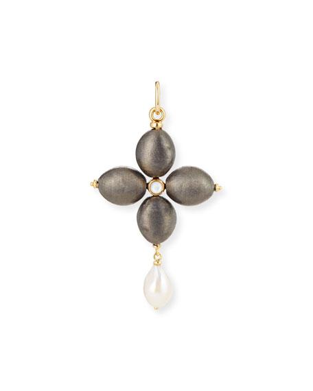 GRAZIA AND MARICA VOZZA Black Silver Cross Charm With Pearl in Black/Silver