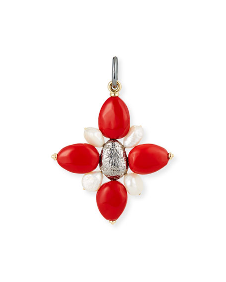 Coral Cross Charm with Pearls