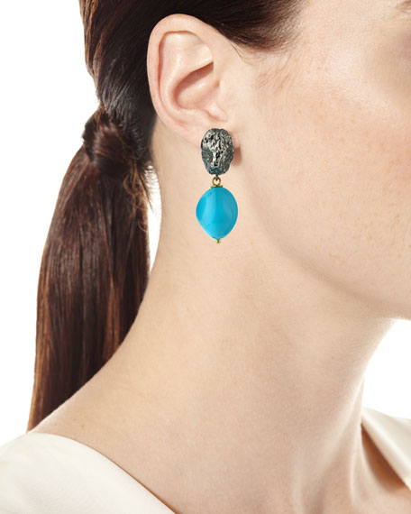 Turquoise & Black Silver Nugget Earrings