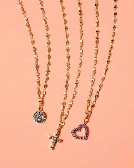 Girls' Pink Sapphire Heart Charm Necklace