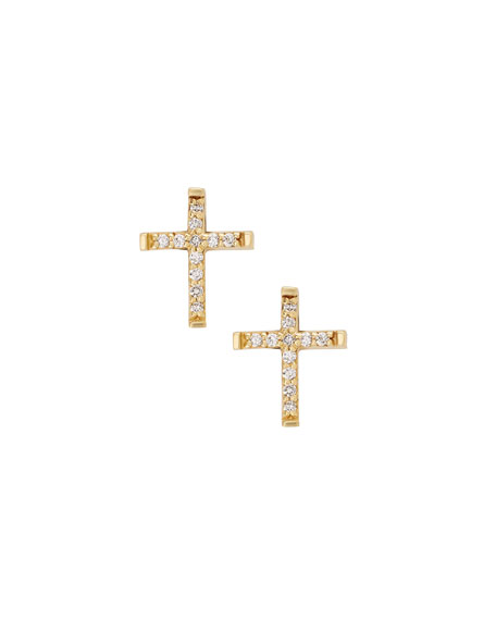 Girls' Diamond Cross Stud Earrings