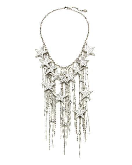 Rock Star Crystal Chain Fringe Necklace