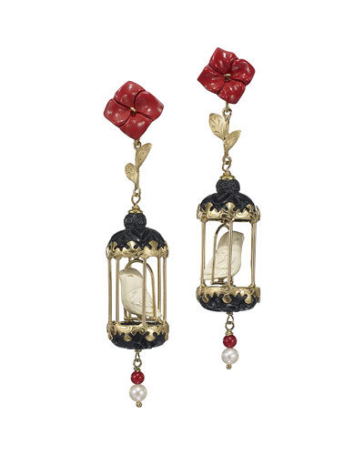 Aviary Classic Coral & Onyx Drop Earrings