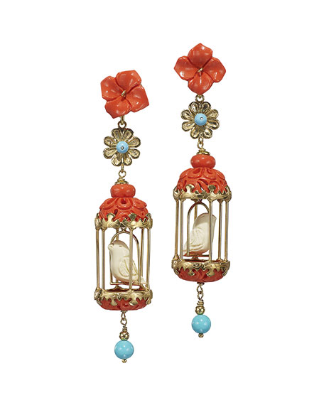 Aviary Classic Coral & Turquoise Drop Earrings