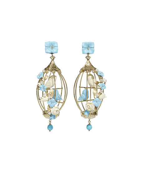 Lovebirds Turquoise & Pearl Drop Earrings