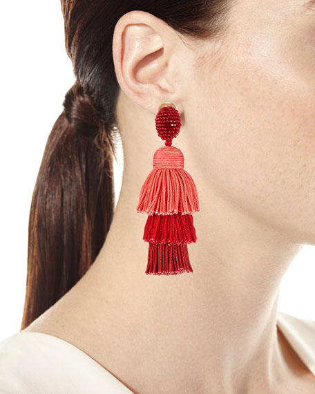 Long Silk Tiered Tassel Clip-On Earrings