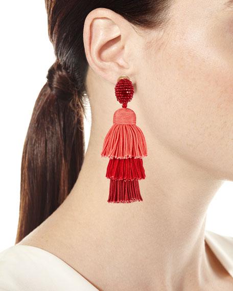 Long Silk Tiered Tassel Clip-On Earrings