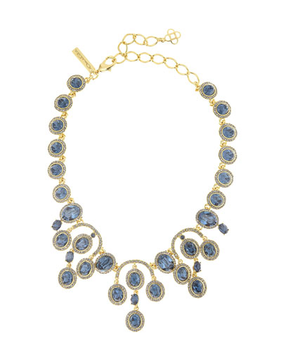 Pavé Oval Crystal Necklace, Blue/Golden