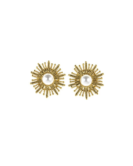 Image 1 of 1: Pearly Sun Star Pierced Earrings