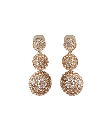Pave Crystal Three-Drop Clip-On Earrings