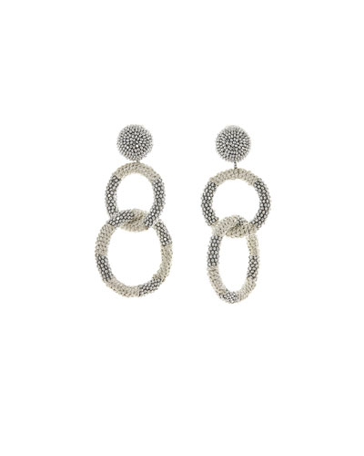 Beaded Two-Hoop Drop Clip-On Earrings, Silver