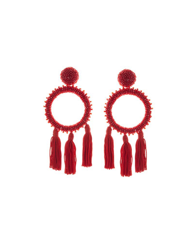 Large Beaded Circle Tassel Clip-On Earrings