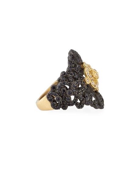 Old World Filigree Ring with White Diamonds & Black Sapphires