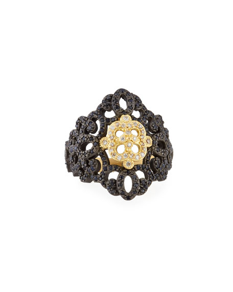 Old World Filigree Ring with White Diamonds & Black Sapphires