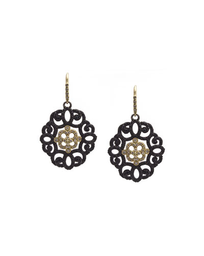 Old World Filigree Earrings with Black Sapphires & Diamonds