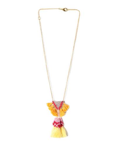 Rayna Tassel Statement Necklace, Pink