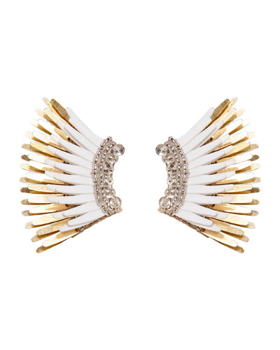 Mini Madeline Statement Earrings  White/Golden
