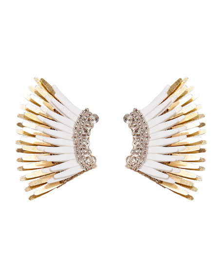 Mini Madeline Statement Earrings, White/Golden