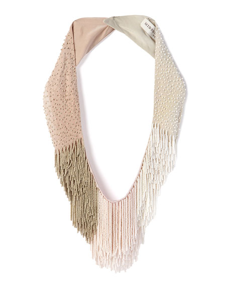Petite Le Marcel Beaded Fringe Necklace, Light Pink