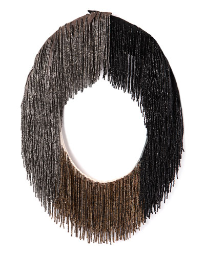 Le Marcel Beaded Fringe Necklace, Black