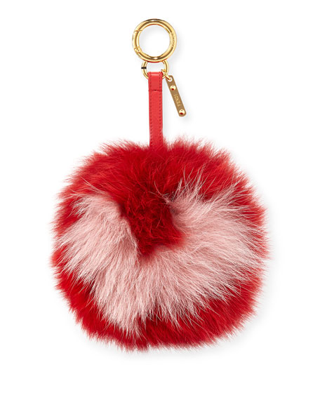 Two-Tone Fox Fur Pompom Key Charm
