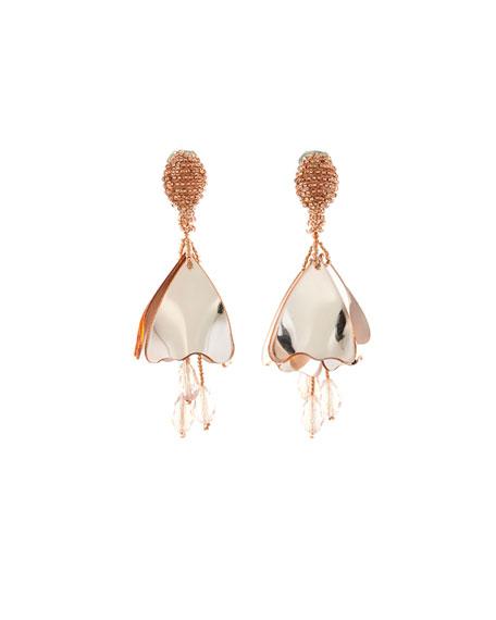 Mini Impatiens Flower Drop Earrings, Rose Golden
