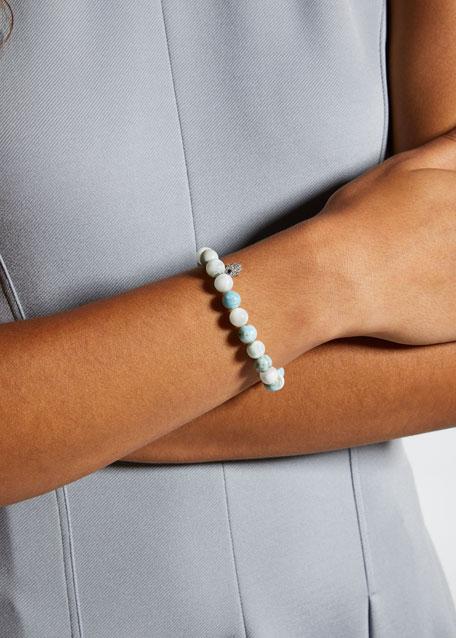 8mm Beaded Larimar Bracelet with Diamond Hamsa Charm