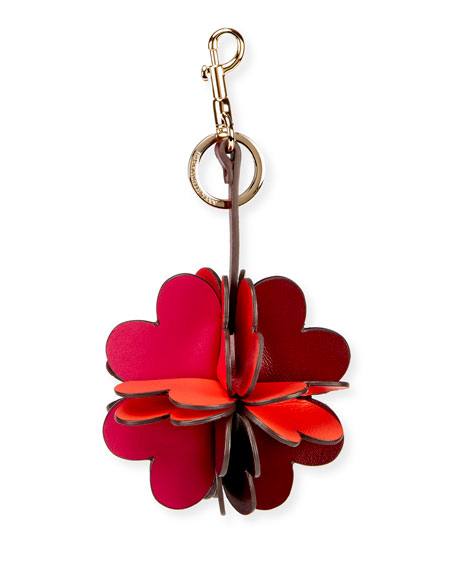 Folded Heart Leather Key Chain
