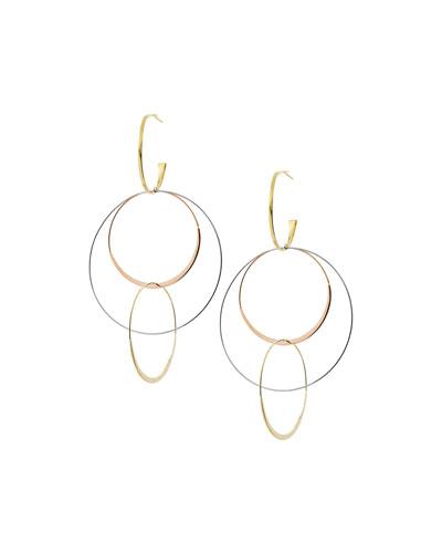 Large Flat Bond Link Hoop Earrings in 14K Tricolor Gold