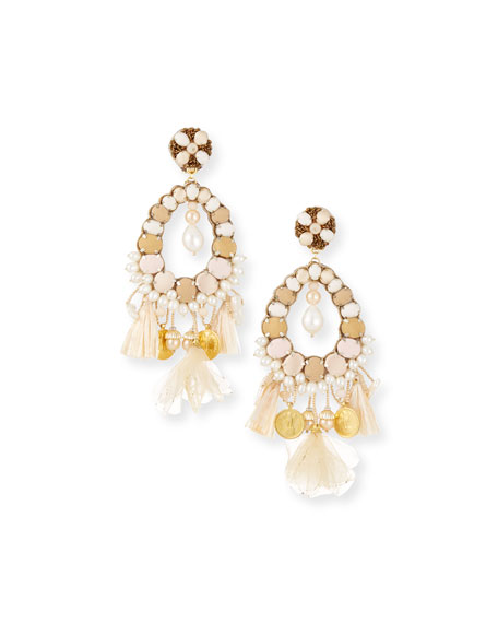 Beaded Charm Clip-On Earrings, Beige