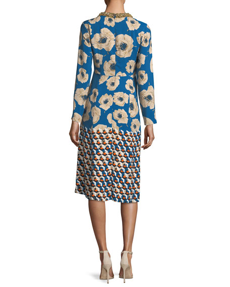 Dleyra Long-Sleeve Crewneck Dress
