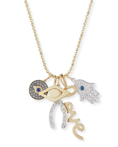 Love, Luck & Protection Charm Necklace with Diamonds