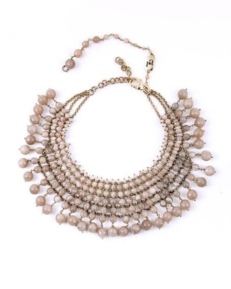 Beaded Sunstone Bib Necklace