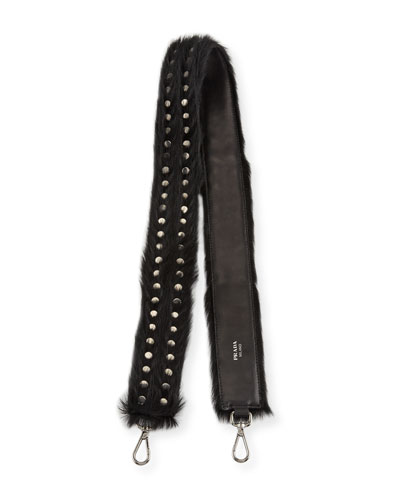 Studded Calf Hair Shoulder Strap for Handbag