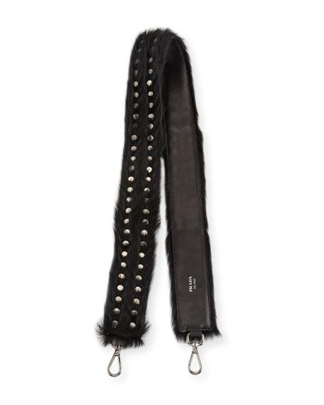 Studded Calf Hair Shoulder Strap for Handbag