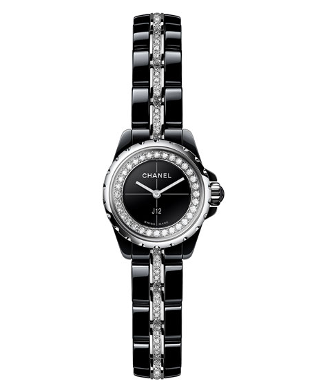 J12 XS Black Ceramic Watch with Diamonds