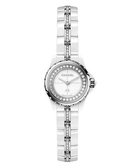 J12 XS White Ceramic Watch with Diamonds