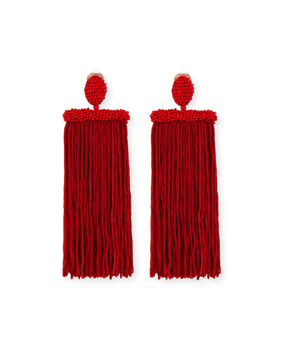 Silk Tassel Waterfall Clip-On Earrings