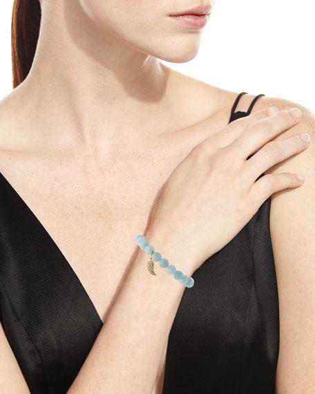 8mm Aquamarine Beaded Bracelet with Diamond Wing Charm