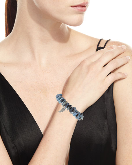 Irregular Labradorite Beaded Bracelet with Diamond Horn Charm