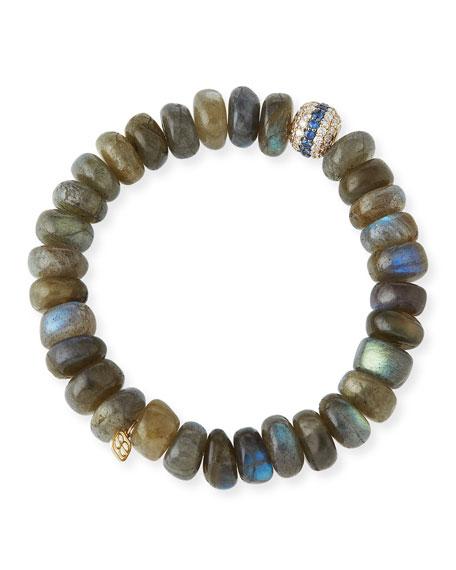 10mm Labradorite Beaded Bracelet with Blue Sapphire & Diamonds