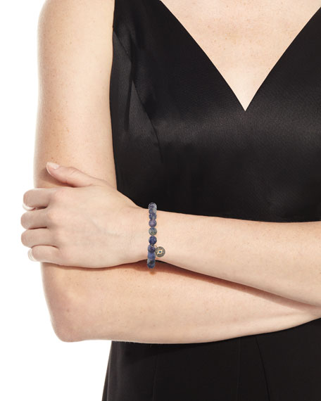 8mm Beaded Iolite Bracelet with Diamond Eye Disc Charm