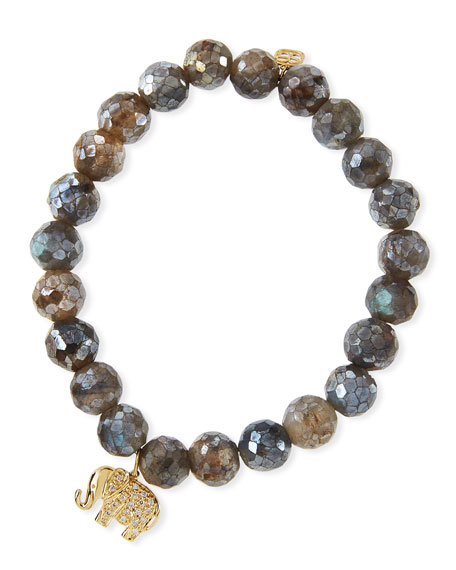 8mm Faceted Labradorite Beaded Bracelet with Diamond Elephant Charm