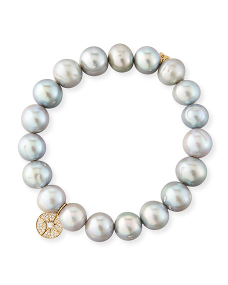 10mm Potato Pearl Beaded Bracelet with Diamond Starburst Charm