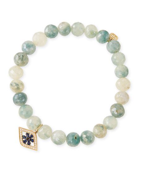 8mm Beaded Corundum Bracelet with Sapphire & Diamond Flower Eye Charm