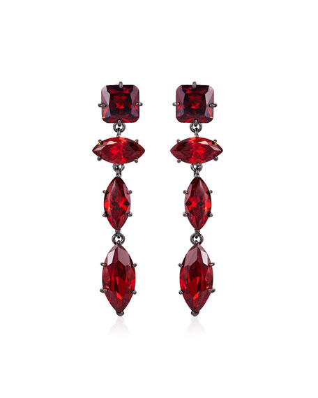 Image 1 of 1: Jagged Edge Marquise Crystal Drop Earrings