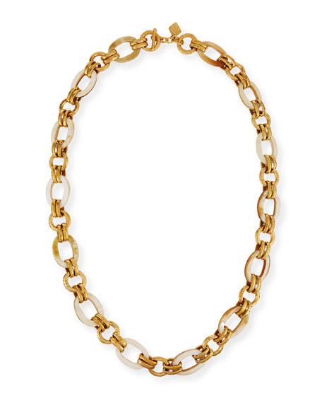 "Ikulu Light Horn & Bronze Link Necklace, 36"""