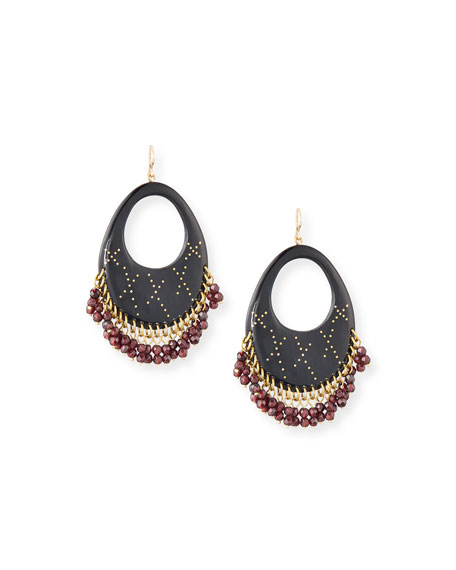 Ashley Pittman Vuka Dark Horn Open Hoop Earrings