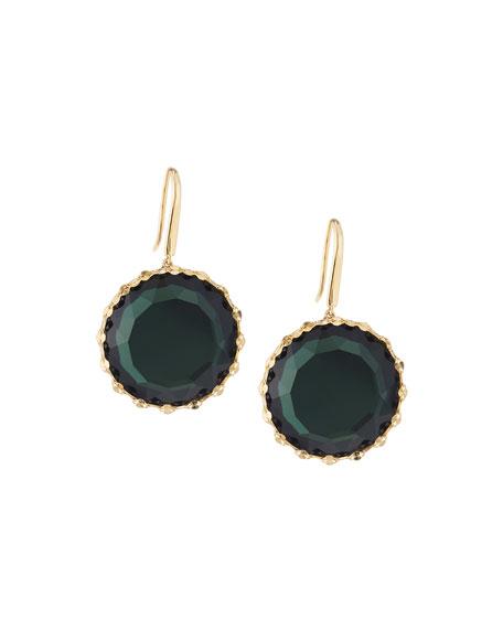 LANA 14k Midnight Round Drop Earrings, Green
