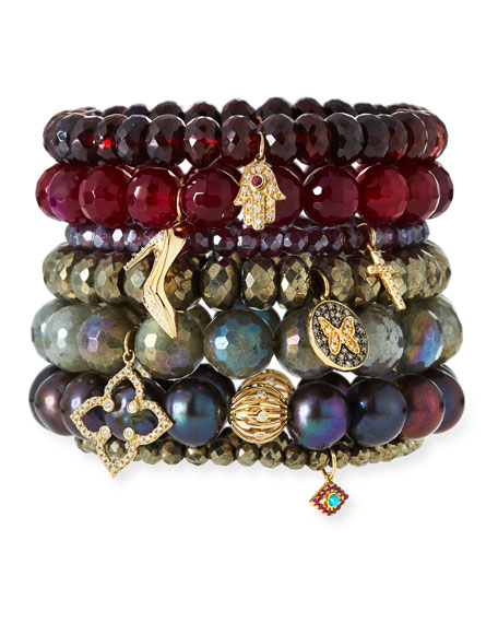 Champagne Pyrite Beaded Bracelet with Ruby & Turquoise Evil Eye Charm